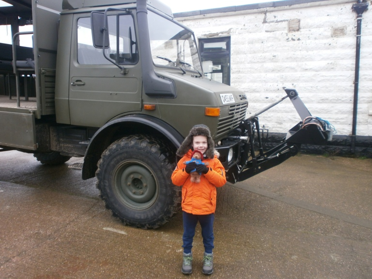 Kasper near the Unimog after the Spurn Point tour