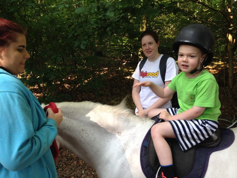 Kasper tries pony trekking at Center Parcs