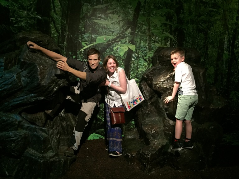 Natalie and Kasper with the Bear Grylls waxwork at Madame Tussauds, Blackpool
