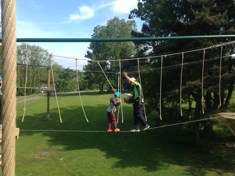 Kasper trying the Aerial Adventure at Primrose Valley review